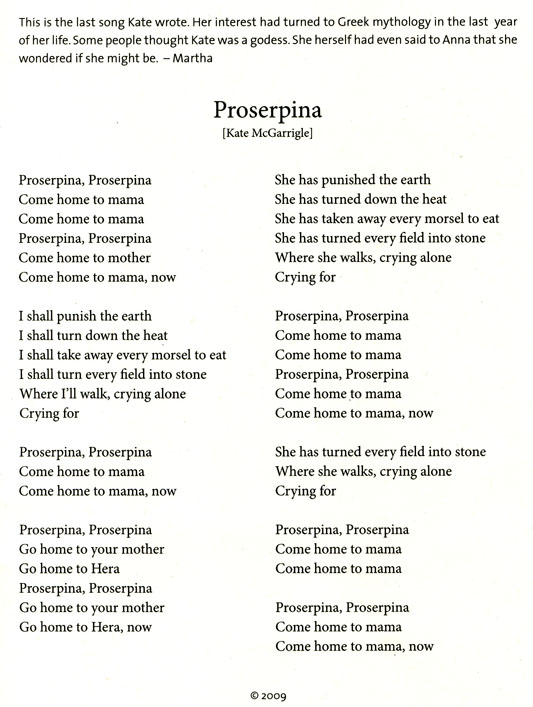 Proserpina by Kate McGarrigle, written Oct. 2009